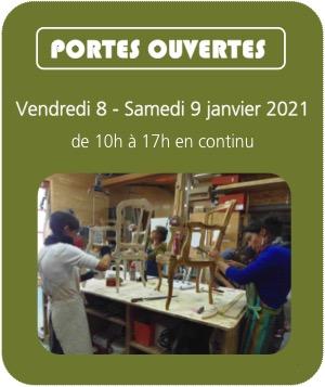 portes Ouvertes 2021 Centre de Formations Professionnelles Tapisserie et couture d'ameublement, tournage sur bois, restauration-relookage meubles
